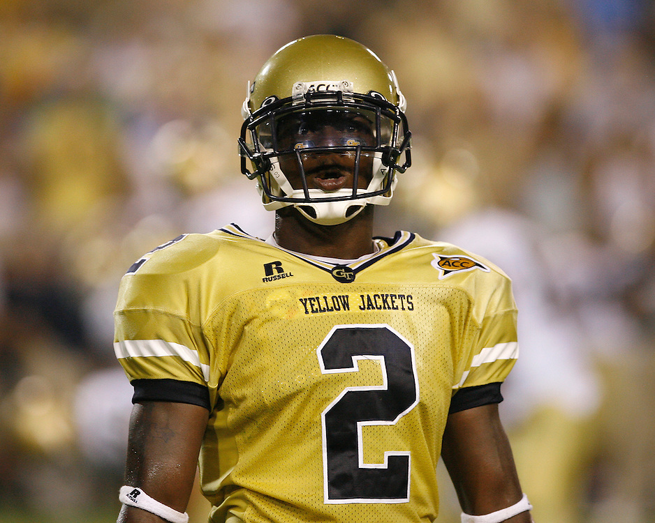 Georgia Tech CB Kenny Scott yells to the crowd during the game against Notre Dame at Grant Field in Bobby Dodd Stadium in Atlanta, GA on September 2, 2006.  The Fighting Irish beat the Yellow Jackets 14-10.