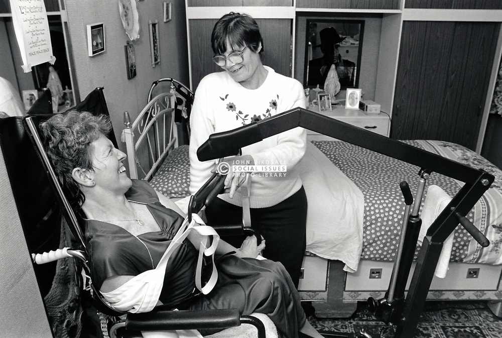 Carer with disabled woman, UK 1990s