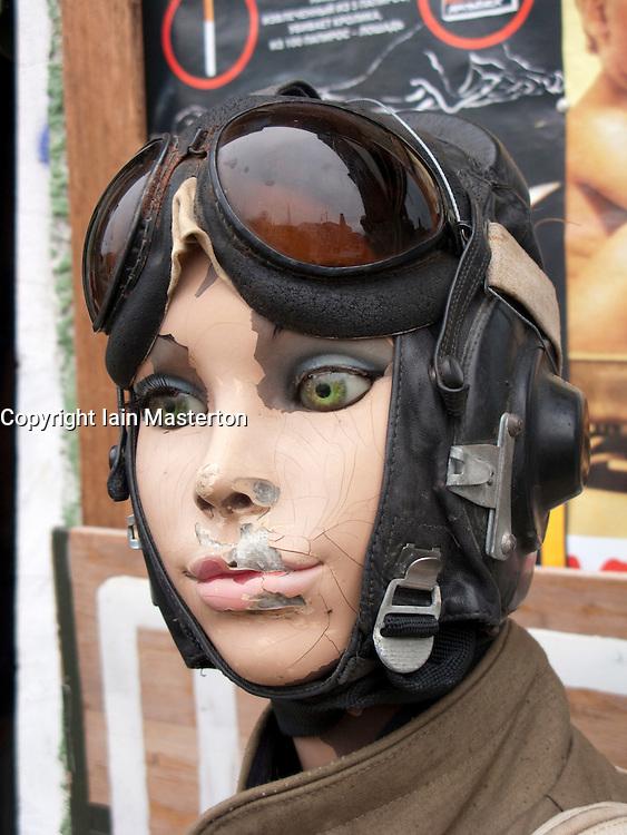 Mannequins modeling antique military uniforms outside shop in bohemian Prenzlauer district of Berlin 2009