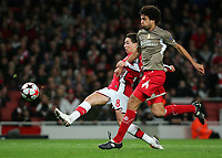 Arsenal FC  vs FC Standard Liege Champions League Group H 24/11/09<br /> Pic Nicky Hayes/Fotosports International<br /> Samir Nasri scores Arsenal's 1st goal.