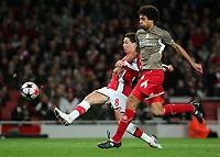 Arsenal FC  vs FC Standard Liege Champions League Group H 24/11/09<br /> Pic Nicky Hayes/Fotosports International<br /> Samir Nasri scores Arsenal's 1st goal.