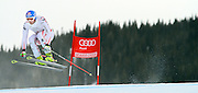 SHOT 12/1/11 12:02:49 PM - Austrian skiier Georg Streitberger launches himself off the Red Tail jump during men's downhill training on the Birds of Prey course at the Audi FIS World Cup on December 1, 2011 in Beaver Creek, Co. (Photo by Marc Piscotty / © 2011)
