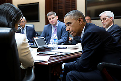 President Barack Obama listens to National Security Advisor Susan E. Rice during a National Security Council  meeting to prep for the United Nations General Assembly, in the Situation Room of the White House, Sept. 19, 2014. John Podesta, Counselor to the President, Senior Advisor Dan Pfeiffer and Chief of Staff Denis McDonough, right, also listen. (Official White House Photo by Pete Souza)<br /> <br /> This official White House photograph is being made available only for publication by news organizations and/or for personal use printing by the subject(s) of the photograph. The photograph may not be manipulated in any way and may not be used in commercial or political materials, advertisements, emails, products, promotions that in any way suggests approval or endorsement of the President, the First Family, or the White House.