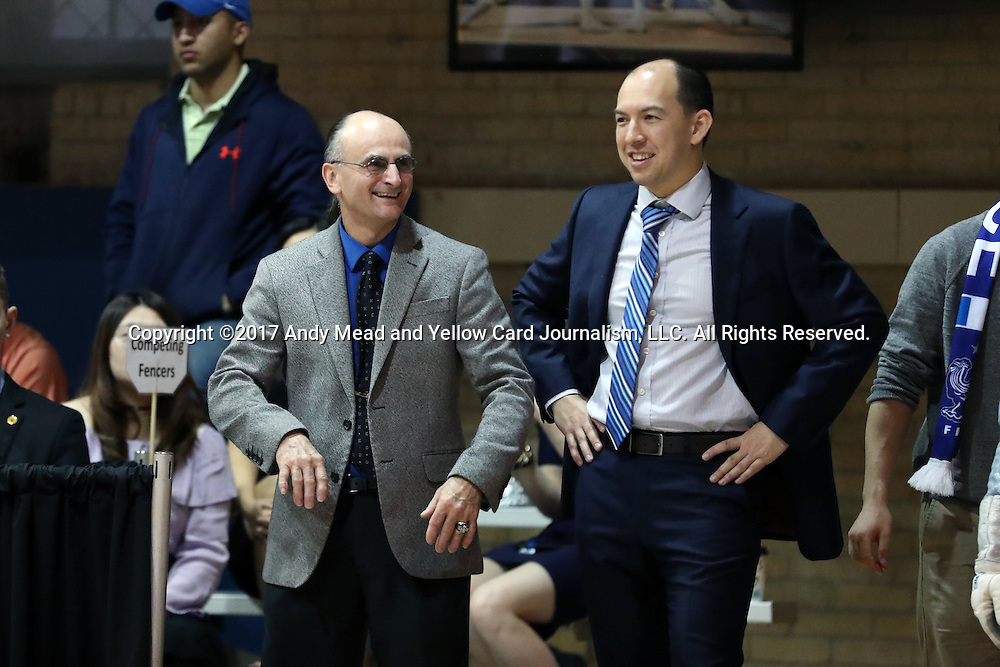 12 February 2017: Duke head coach Alex Beguinet (left) with assistant coach Darius Wei (right). The Duke University Blue Devils hosted the Boston College Eagles at Card Gym in Durham, North Carolina in a 2017 College Women's Fencing match. Duke won the dual match 19-8 overall, 6-3 Foil, 5-4 Epee, and 8-1 Saber.