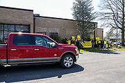 Congressman Fred Keller (R-PA) drives past protesters outside of his district office in Selinsgrove, Pennsylvania on April 7, 2021. Sunrise Movement groups from Lewisburg and State College rallied outside of Keller's office to demand that he sign the Good Jobs for All Congressional Pledge.