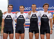 Amsterdam, HOLLAND,  GBR LM4-, Bow left,  Richard CHAMBERS, James LINDSAY-FYNN, Paul MATTICK and Richard CLARKE.  at the 2007 FISA World Cup, Second Round, Finals day,  at the Bosbaan Regatta Rowing Course. 24.06.2007, left, Alan CROWTHER,  Alastair McKEAN, Naomi RICHES, Victoria HANSFORD and cox Tasmin COTTLE, [Mandatory Credit: Peter Spurrier/Intersport-images]....... , Rowing Course: Bosbaan Rowing Course, Amsterdam, NETHERLANDS