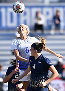 St. Louis University midfielder Courtney Reimer leaps above George Washington players Rachel Sorkenn (left) and Megan McCormick to win a header. St. Louis University defeated George Washington in the championship game of the Atlantic 10 Conference Women's Soccer Tournament at Robert Hermann Stadium at St. Louis University on Sunday November 10, 2019.<br /> Photon by Tim Vizer