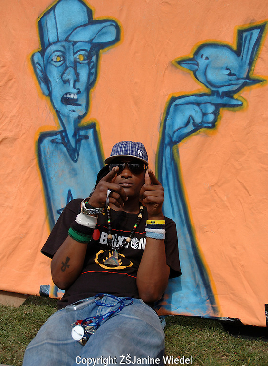 Young rap & hip hop musician at Brockwell Park concert.