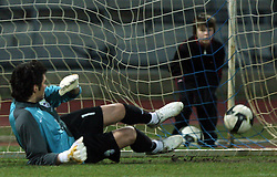 Goalkeeper of Slovenia Jan Koprivec after penalty shot during Friendly match between U-21 National teams of Slovenia and Romania, on February 11, 2009, in Nova Gorica, Slovenia. (Photo by Vid Ponikvar / Sportida)
