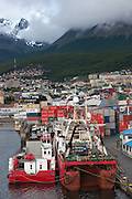 Port of Ushuaia, southernmost city in the world. Tierra del Fuego, Argentina. Fishing boats.