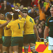 Australian captain James Horwill is congratulated after scoreing the only try of the match during the South Africa V Australia Quarter Final match at the IRB Rugby World Cup tournament. Wellington Regional Stadium, Wellington, New Zealand, 9th October 2011. Photo Tim Clayton...
