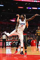 January 29, 2019 - Los Angeles, CA, U.S. - LOS ANGELES, CA - JANUARY 28: Los Angeles Clippers Guard Patrick Beverley (21) defends a shot during a NBA game between the Atlanta Hawks and the Los Angeles Clippers on January 28, 2019 at STAPLES Center in Los Angeles, CA. (Photo by Brian Rothmuller/Icon Sportswire) (Credit Image: © Brian Rothmuller/Icon SMI via ZUMA Press)