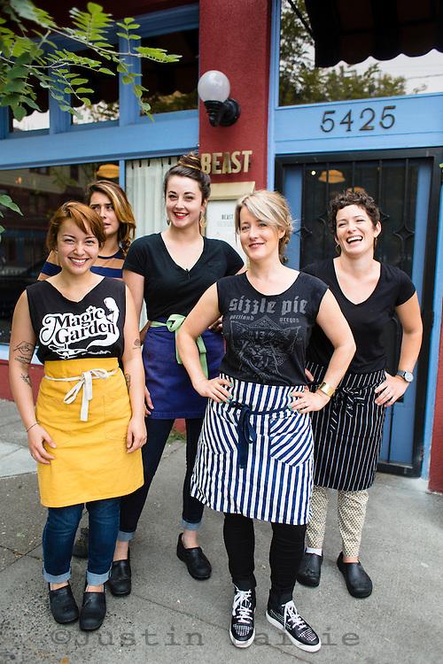 Portrait of the women of Beast, a Northeast Portland restaurant from chef Naomi Pomeroy. Portland, Oregon.