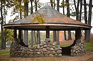 Stone and Wood Gazebo at Heckscher Park, on November 8, 2014, at Huntington, Long Island, New York, USA