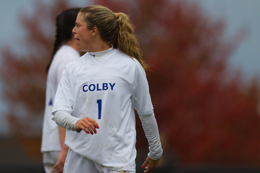 Annie Papadellis, of Colby College, in a NCAA Division III soccer game on October 22, 2013 in Waterville, ME. (Dustin Satloff/Colby College Athletics)