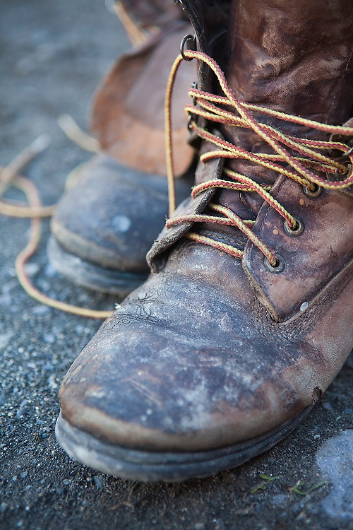 A pair of old leather boots in Chitina, Alaska