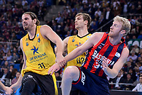 Baskonia's Chase Budinger and Iberostar Tenerife's Georgios Bogris and Aaron Doornekamp during Quarter Finals match of 2017 King's Cup at Fernando Buesa Arena in Vitoria, Spain. February 16, 2017. (ALTERPHOTOS/BorjaB.Hojas)