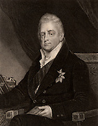 William IV (1765-1837) king of Great Britain from 1830; third son of George III, uncle of Victoria.  Member of the Hanoverian dynasty. Engraving c1840.
