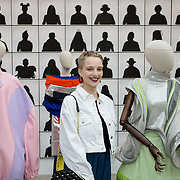"""18.05.2018.          <br /> More than 500 people attended the flagship event of the inaugural Unwrap LSAD Fashion Festival in Limerick.<br /> <br /> Graduate Anna O'Doherty, Aragh Co. Limerick is pictured with her design.<br /> <br /> The Limerick School of Art & Design, LIT, Fashion Design Graduate Exhibition and launch of the """"The Fashion Film"""" at Limerick City Gallery of Art, in partnership with EVA International, attracted hundreds of people from the world of fashion. <br /> <br /> A total of 27 fashion graduates presented their designs alongside the specially commissioned film by fashion stylist and creative director Kieran Kilgallon and videographer Albert Hooi. Picture: Alan Place"""