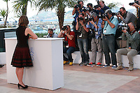 Actress Dorothy Atkinson in front of the photographers at the photocall for the film Mr. Turner at the 67th Cannes Film Festival, Thursday 15th May 2014, Cannes, France.