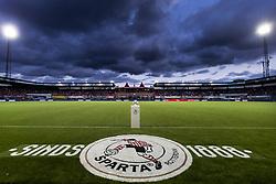general view, dark clouds, flood lights, stand, artificial grass, logo during the Dutch Eredivisie match between Sparta Rotterdam and AZ Alkmaar at the Sparta stadium Het Kasteel on September 15, 2017 in Rotterdam, The Netherlands