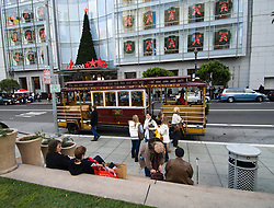 California: San Francisco Christmas celebration, Union Square.  Macy's Department Store. Motorized cable car. Photo copyright Lee Foster.  Photo # 32-casanf75885
