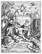 Half-title of 'De Motu Animalum' Giovanni Borelli, (Leyden, 1710). Giovanni Alfonso Borelli (1608-1679), Italian physiologist and physician, first published this book in 1680-1686, and in it he attempted to explain the movement of the animal body according to the laws of statics and dynamics. Engraving.