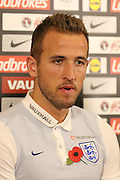 England striker Harry Kane interviewed during the England Team Media Conference ahead of the World Cup qualification match against Scotland, at St George's Park National Football Centre, Burton-Upon-Trent, United Kingdom on 8 November 2016. Photo by Aaron  Lupton.