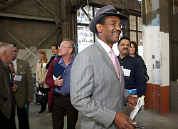 City of  Vallejo Mayor Osby Davis arrives as Blu Homes opened their West Coast factory on Mare Island in Vallejo, California Dec. 1, 2011.  Over 400 guests attended a ribbon cutting ceremony at the 250,000-square-foot facility.
