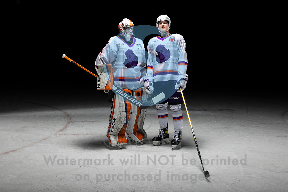 Youngstown Phantoms player photo shoot on April 14, 2021. <br /> <br /> Kyle Chauvette, goalie, 29 and Bayard Hall, defenseman, 5