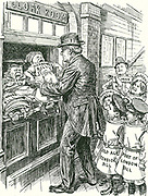 Herbert Asquith,  British  Prime Minister, handing over all the Liberal Bills not yet passed by Parliament to be collected in October when the new session that will begin in the coming October.  Cartoon from 'Punch', London, 10 June 1908.