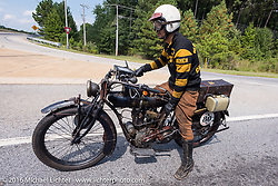Yoshimasa Niimi of Japan on the Chabott Engineering -Shinya Kimura 1915 Indian during the Motorcycle Cannonball Race of the Century. Stage-1 from Atlantic City, NJ to York, PA. USA. Saturday September 10, 2016. Photography ©2016 Michael Lichter.