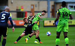 Arthur Read of Stevenage competes with Aaron Collins of Forest Green Rovers- Mandatory by-line: Nizaam Jones/JMP - 17/10/2020 - FOOTBALL - innocent New Lawn Stadium - Nailsworth, England - Forest Green Rovers v Stevenage - Sky Bet League Two