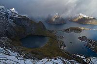 View over Reine from Reinebringen mountain peak in autumn, Moskenesøy, Lofoten Islands, Norway