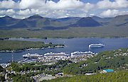 Alaska, Ketchikan. Southeast Alaska Port of Call , Ketchikan, known as the rainfall capital of Alaska, with cruise ships in the harbor.