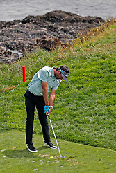 June 11, 2019 - Pebble Beach, CA, U.S. - PEBBLE BEACH, CA - JUNE 11: PGA golfer Bubba Watson tees off on the 8th hole during a practice round for the 2019 US Open on June 11, 2019, at Pebble Beach Golf Links in Pebble Beach, CA. (Photo by Brian Spurlock/Icon Sportswire) (Credit Image: © Brian Spurlock/Icon SMI via ZUMA Press)