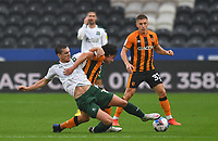 Hull City's George Honeyman battles with Plymouth Argyle's Conor Grant<br /> <br /> Photographer Dave Howarth/CameraSport<br /> <br /> The EFL Sky Bet League One - Hull City v Plymouth Argyle - Saturday 3rd October 2020 - KCOM Stadium - Kingston upon Hull<br /> <br /> World Copyright © 2020 CameraSport. All rights reserved. 43 Linden Ave. Countesthorpe. Leicester. England. LE8 5PG - Tel: +44 (0) 116 277 4147 - admin@camerasport.com - www.camerasport.com