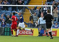 Photo: Paul Greenwood.<br />Stockport County v Cardiff City. Coca Cola Championship. Pre Season Friendly. 28/07/2007.<br />Stockport's Anthony Pilkington (C) celebrates his goal
