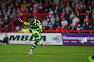 Forest Green Rovers Reece Brown(10) scores a goal from a free kick to make it 1-1 during the EFL Sky Bet League 2 match between Stevenage and Forest Green Rovers at the Lamex Stadium, Stevenage, England on 21 October 2017. Photo by Adam Rivers.