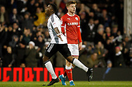 Floyd Ayite of Fulham celebrates after scoring his teams first goal. EFL Skybet championship match, Fulham v Barnsley at Craven Cottage in London on Saturday 23rd December 2017<br /> pic by Steffan Bowen, Andrew Orchard sports photography.