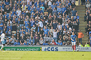 Portsmouth Players fans celebrate with their team 2-1 up during the EFL Sky Bet League 1 match between Portsmouth and Coventry City at Fratton Park, Portsmouth, England on 22 April 2019.