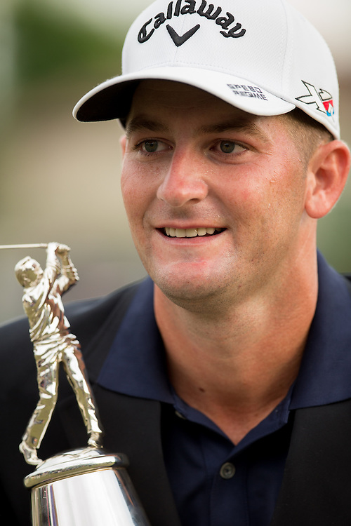 Mar 22, 2015; Orlando, FL, USA; Matt Every celebrates winning the Arnold Palmer Invitational presented by MasterCard while holding the championship trophy at Bay Hill Club & Lodge. Mandatory Credit: Kevin Liles-USA TODAY Sportsb