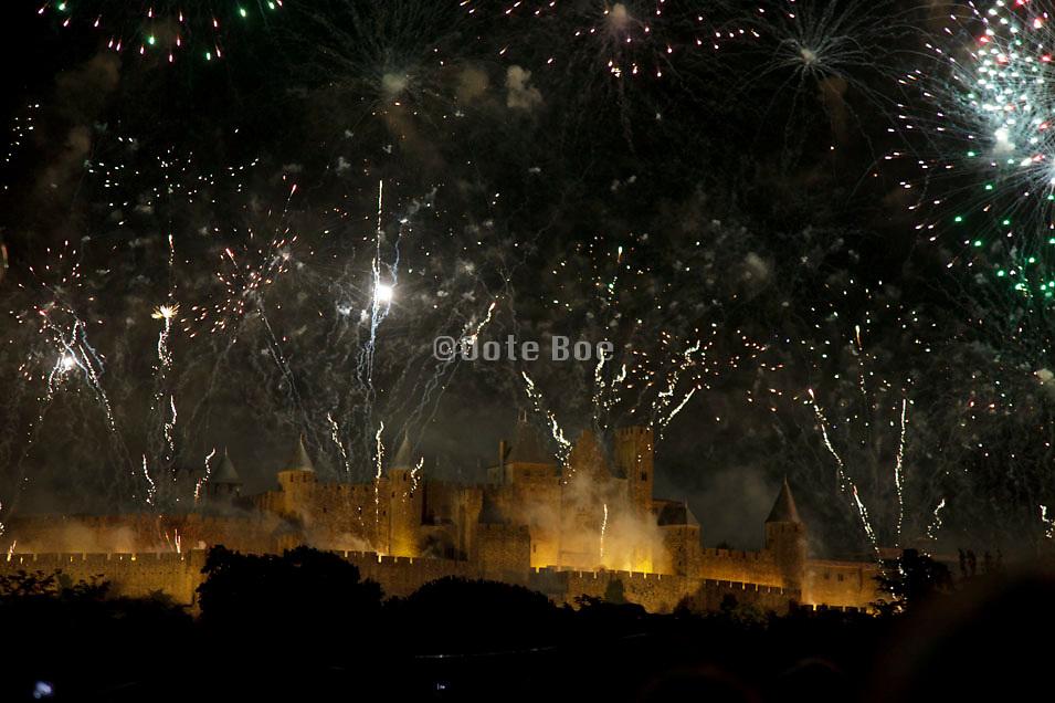 14 July fireworks, La Cite, Carcassonne