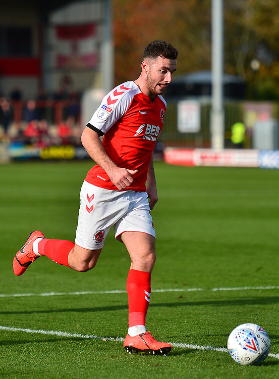 Fleetwood Town's Lewis Coyle in action<br /> <br /> Photographer Richard Martin-Roberts/CameraSport<br /> <br /> The EFL Sky Bet League One - Fleetwood Town v Burton Albion - Saturday 19th October 2019 - Highbury Stadium - Fleetwood<br /> <br /> World Copyright © 2019 CameraSport. All rights reserved. 43 Linden Ave. Countesthorpe. Leicester. England. LE8 5PG - Tel: +44 (0) 116 277 4147 - admin@camerasport.com - www.camerasport.com
