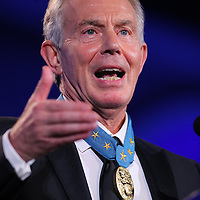 """ST PAUL, MN - JULY 17: Former British Prime Minister Tony Blair at the 2016 Starkey Hearing Foundation """"So the World May Hear"""" awards gala at the St Paul RiverCentre on July 17, 2016 in St Paul, Minnesota. (Photo by Adam Bettcher/Getty Images for Starkey Hearing Foundation) *** Local Caption *** Tony Blair"""