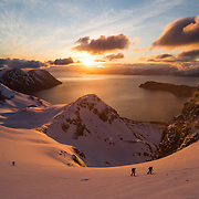 Skiers Laura Bohleber, Jeremy Pernet, Roch Schenk