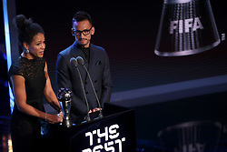 Celia Sasic and Hidetoshi Nakata present the award for FIFA Women's Player of the Year during the Best FIFA Football Awards 2017 at the Palladium Theatre, London. PRESS ASSOCIATION Photo. Picture date: Monday October 23, 2017. See PA story SOCCER Awards. Photo credit should read: Adam Davy/PA Wire.