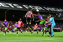 Nathan Baker of Bristol City challenges for the header from a corner  - Mandatory by-line: Dougie Allward/JMP - 15/08/2017 - FOOTBALL - Griffin Park - Brentford, England - Brentford v Bristol City - Sky Bet Championship
