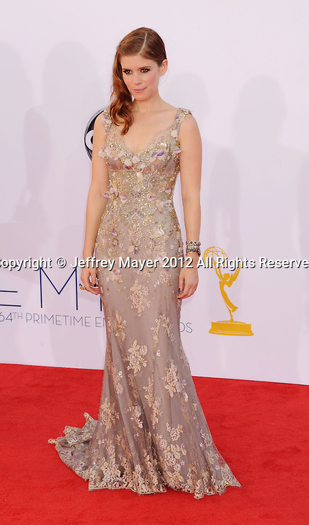 LOS ANGELES, CA - SEPTEMBER 23: Kate Mara arrives at the 64th Primetime Emmy Awards at Nokia Theatre L.A. Live on September 23, 2012 in Los Angeles, California.