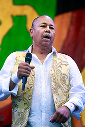 28 April 2013. New Orleans, Louisiana,  USA. .Ralph Johnson of Earth, Wind and Fire plays the Congo Square stage at the New Orleans Jazz and Heritage Festival. .Photo; Charlie Varley.